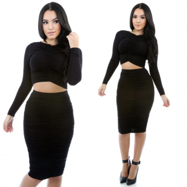 dress little black dress little black dress two-piece bodycon dress midi skirt two piece dress set