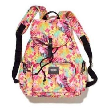 Victoria's Secret PINK Backpack Hawaiian Floral Canvas School Handbag Book Bag Tote~Sold Out on Wanelo