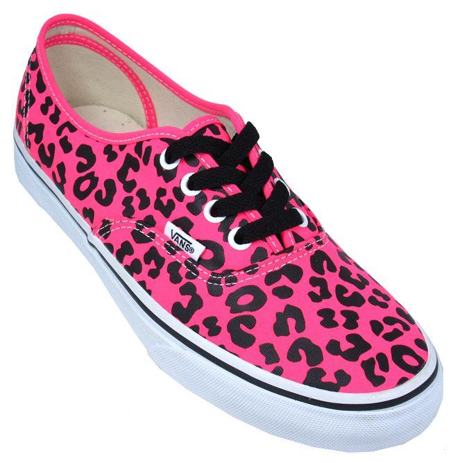 Vans Authentic Leopard Print Neon Pink Trainers for Women | Landau Store