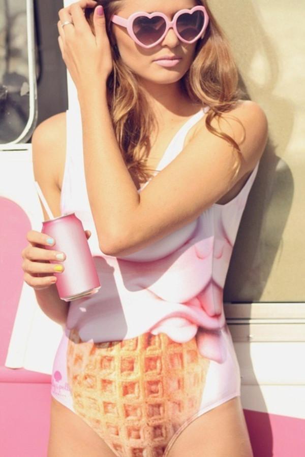 swimwear pink clothes cone ice cream sunglasses easter swimwear summer summerfeelings ice cream