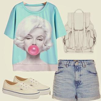 shirt marilyn monroe shirt graphic tee t-shirt vans keds white blue light blue light washed denim denim denim shorts bag purse shorts shoes