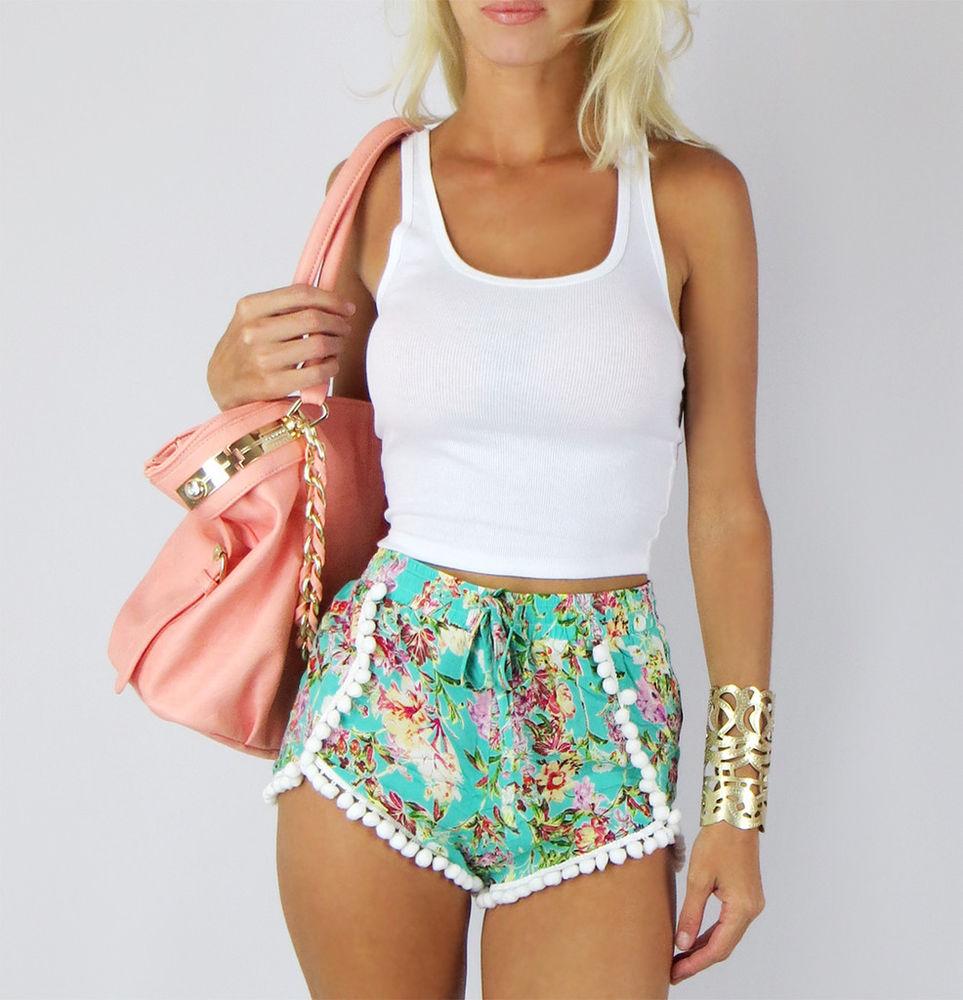 Mint Blossom Floral Pom Pom Wrap Casual Beach High Waist Boho Festival Shorts L | eBay