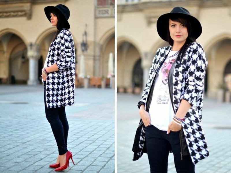 Oversized Coat In Houndstooth | Choies