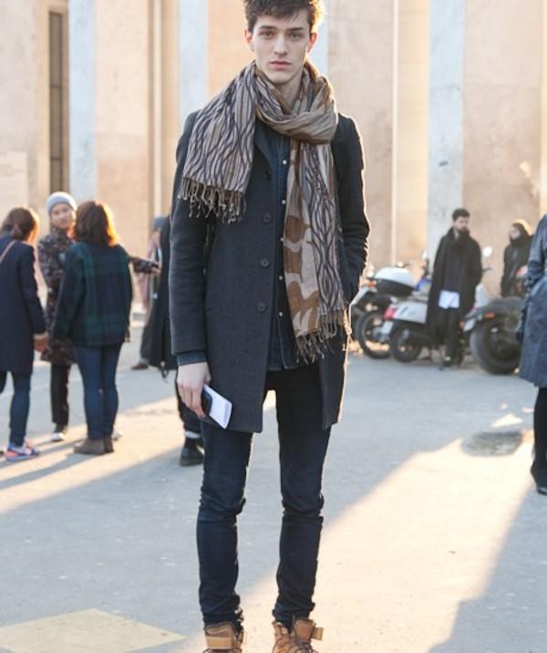 scarf pants jacket shirt