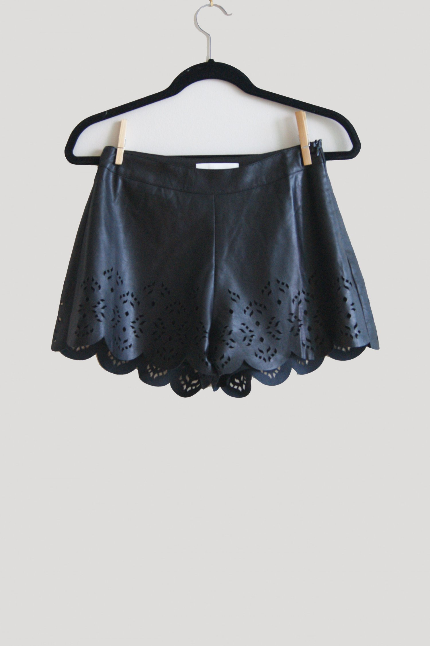 Black Shorts - Femme And Rock Scalloped Leather | UsTrendy
