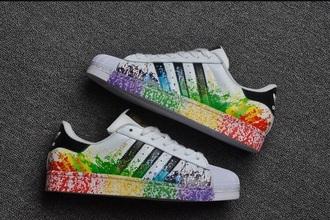 shoes adidas superstars multicolor adidas low top sneakers paint splatter paint splash gay pride paint splashed rainbow