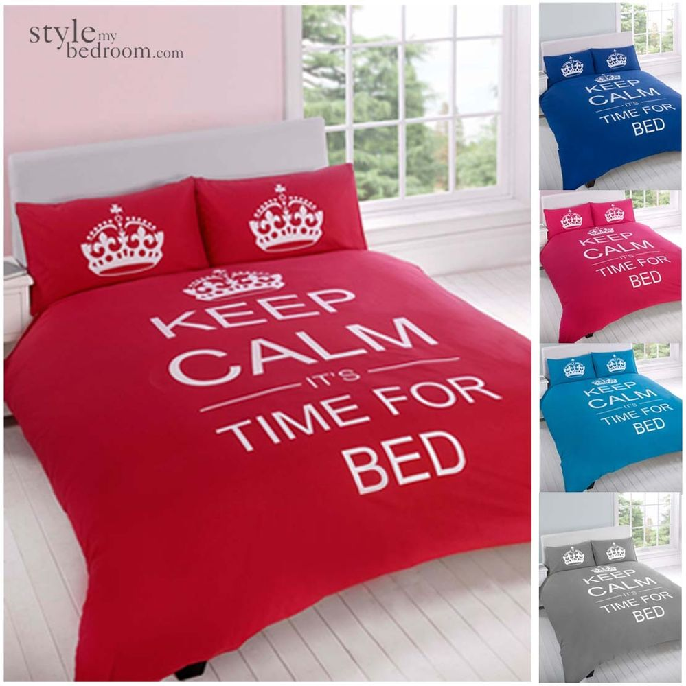 Keep Calm Time for Bed Reversible Bedding Duvet Quilt Cover Set with Pillowcases | eBay