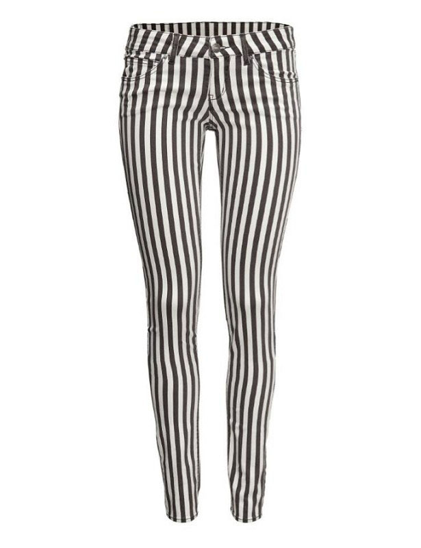 Casual Style Stripe Print Pockets Design Slimming Women's Pants (AS THE PICTURE,M) | Everbuying.com