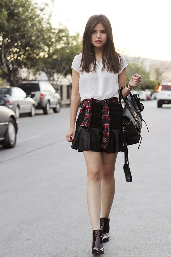 fake leather blouse t-shirt skirt bag shoes sunglasses