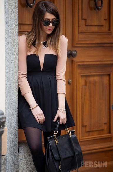 Stylish Long Sleeve Color Block Dress [FXBI00337] - PersunMall.com