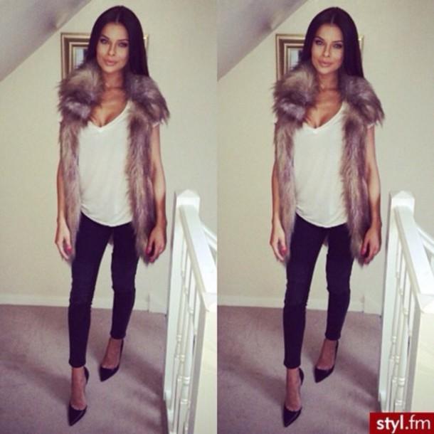 sweater fur fur vest prettty faux fur vest