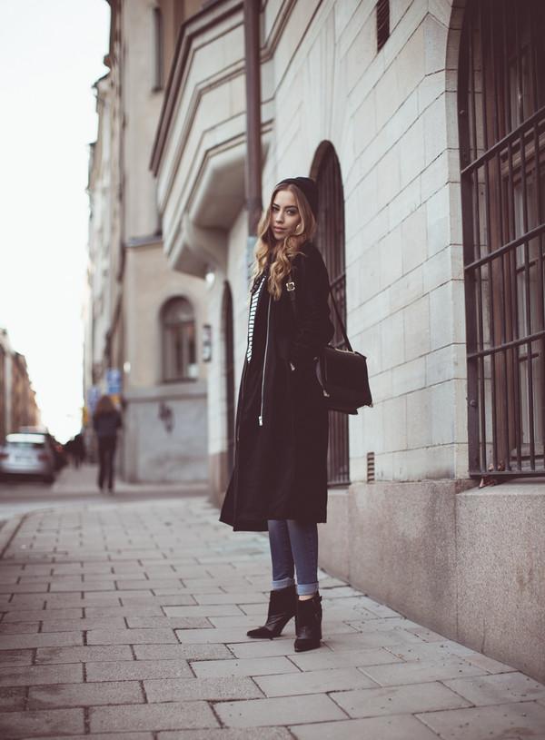 kenza coat jeans shoes bag sweater jewels hat sunglasses