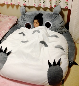 bedding cats cool bag chinese japenese sofa pillow studio ghibli totoro pajamas lovely night soft warm cozy owl grey fluffy sleep nice home accessory tumblr bedroom hair accessory bean bag sleeping bag bedroom sweater olw beenbag