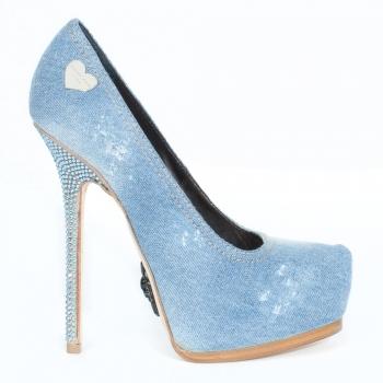 Crystal' Blue Denim Platform High Heels | Online Designer Outlets