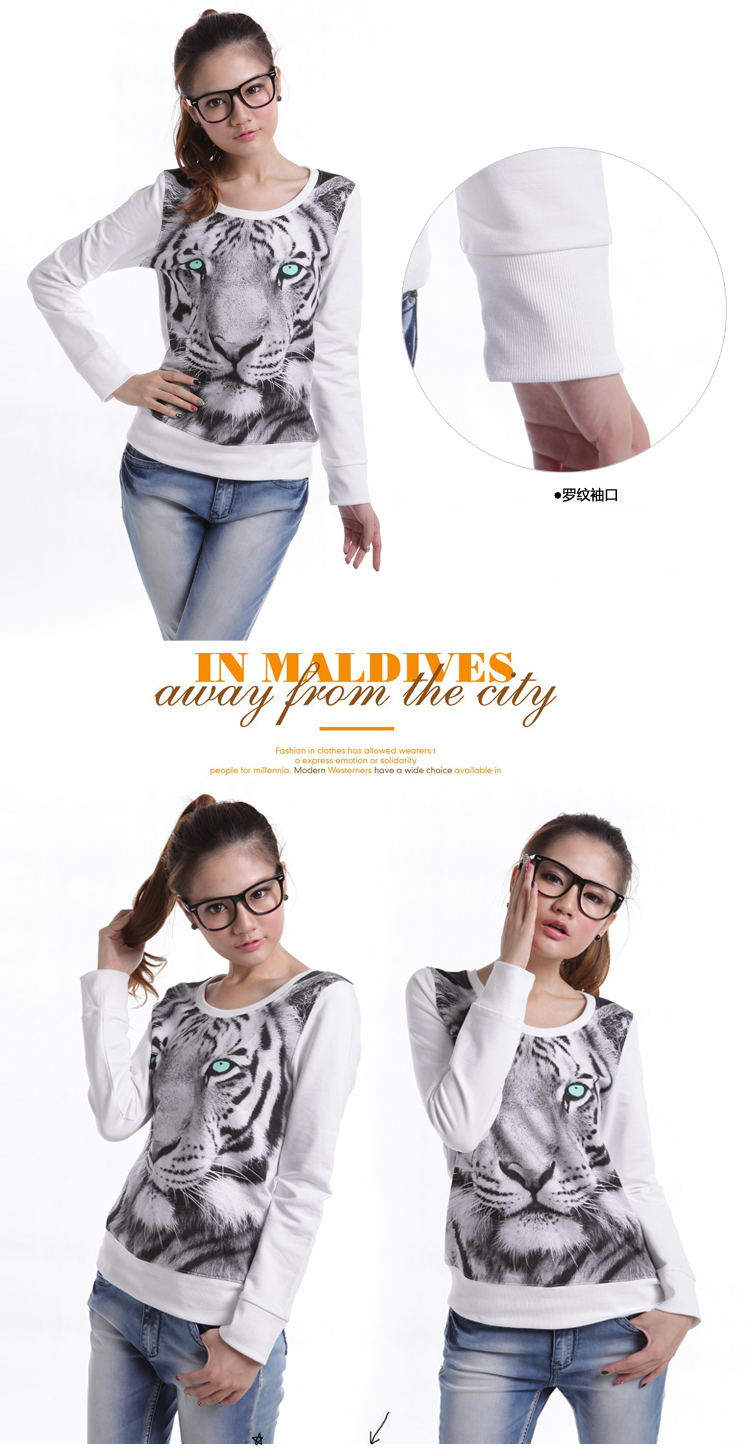 Drop Shipping Tiger Printed Animal Hoodies Women's Long Sleeve Thin Pullovers Autumn Sweatshirts White/Gray NY 036 free shipping-inHoodies & Sweatshirts from Apparel & Accessories on Aliexpress.com