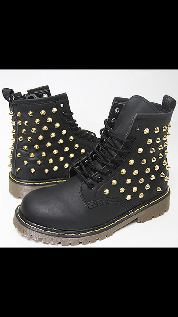 shoes black combat boots gold studs