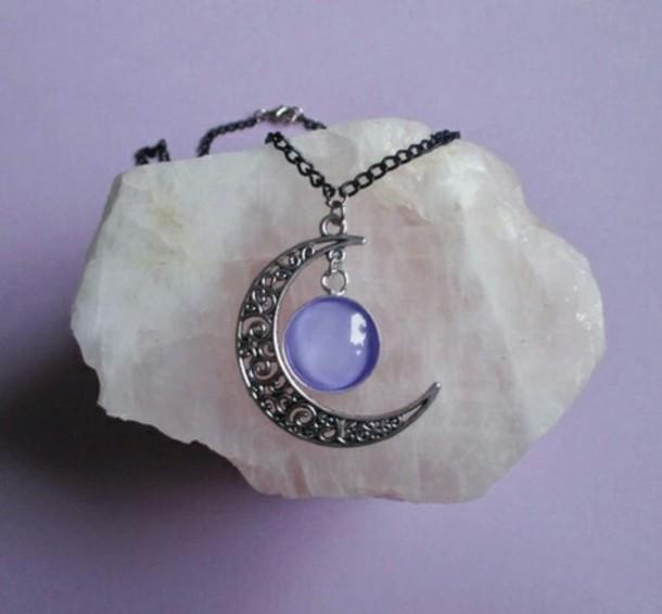 jewels necklace moon purple necklace
