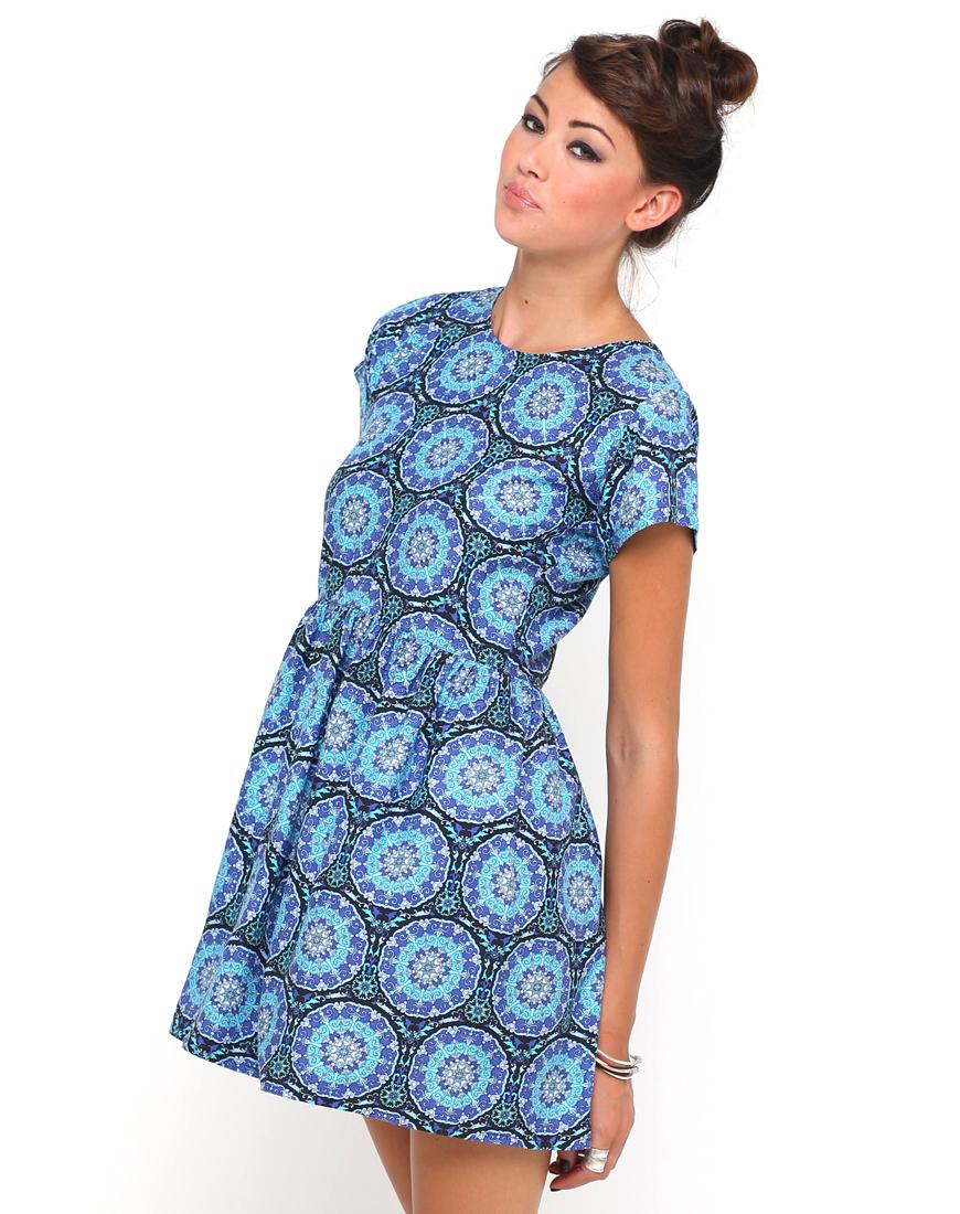 Buy Motel Penny Babydoll Dress in Mandala Print at Motel Rocks