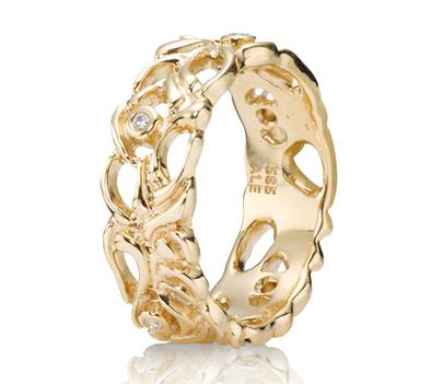Pandora 14ct Gold And Diamond Lattice Band Ring 150114d At