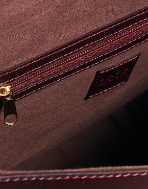 ASOS | ASOS Leather Tophandle Bag With Metal Bar at ASOS