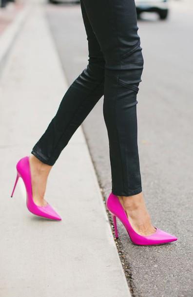 shoes high heels glossy pink high heels
