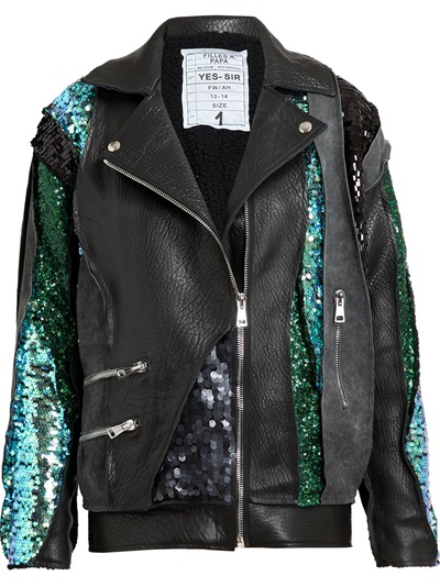 Filles A Papa Sequin Embellished Leather And Suede Jacket -  - Farfetch.com