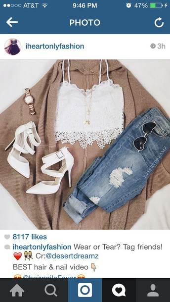 blouse sweater shoes jeans