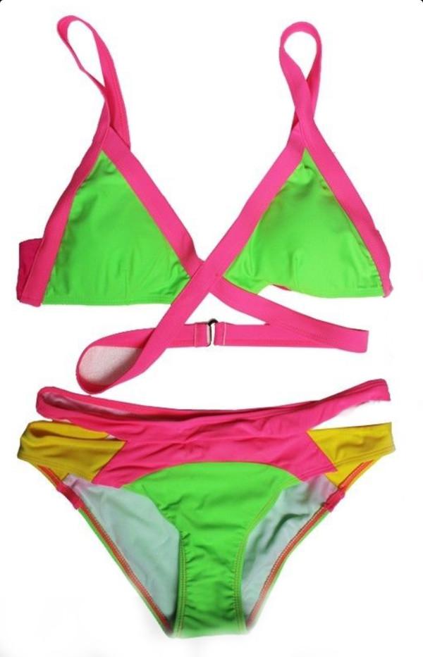 swimwear swimsute neon two piece swimsuit bikini summer fun pink bikini chablee izma models chablee peterson