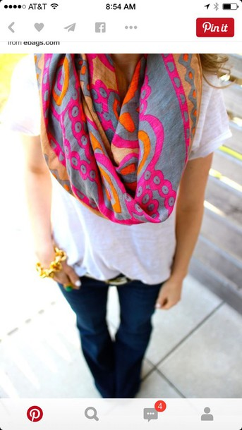 scarf accessories pink grey