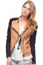 ROMWE | Color Block Fake Leather Yellow Jacket, The Latest Street Fashion
