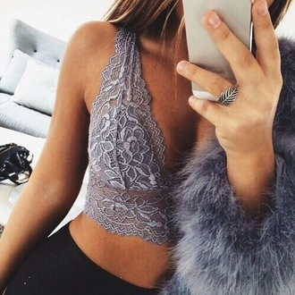 lace top grey top lace bralette bralette party sexy top lace crop top top tumblr classy girly grey lace lace lingerie lace bra underwear cute underwear summer top summer outfits