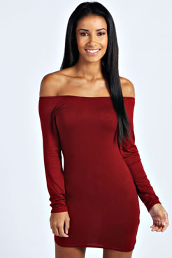 Alice Off The Shoulder Long Sleeve Bodycon Dress at boohoo.com