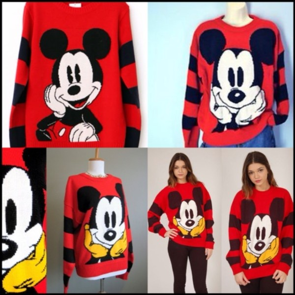 sweater red mickey mouse mickey mouse mouse white