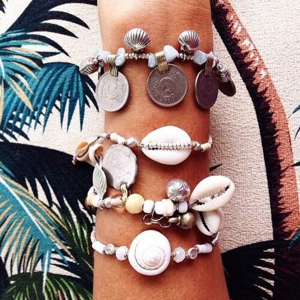 jewels shell shell tropical instagram beaded beach bracelets coin bracelet summer sea of shoes ocean fashion toast Accessory arm bracelet accessories ootd charm bracelet stacked bracelets