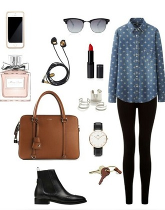 blouse dotted jeans bag