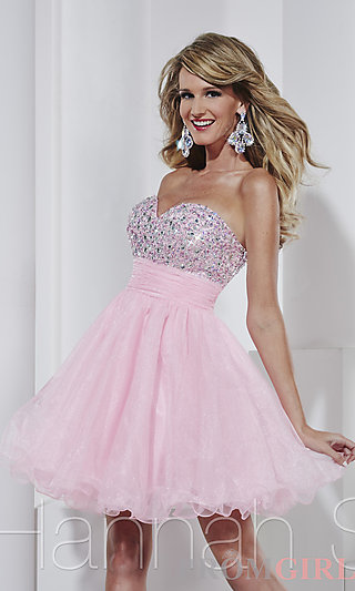 Prom Dresses, Celebrity Dresses, Sexy Evening Gowns - PromGirl: Short Strapless Tulle Babydoll Dress