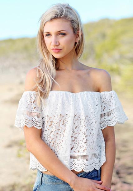 shirt lace top white lace top crop tops women shirts women blouse off the shoulder top women fashion trendy