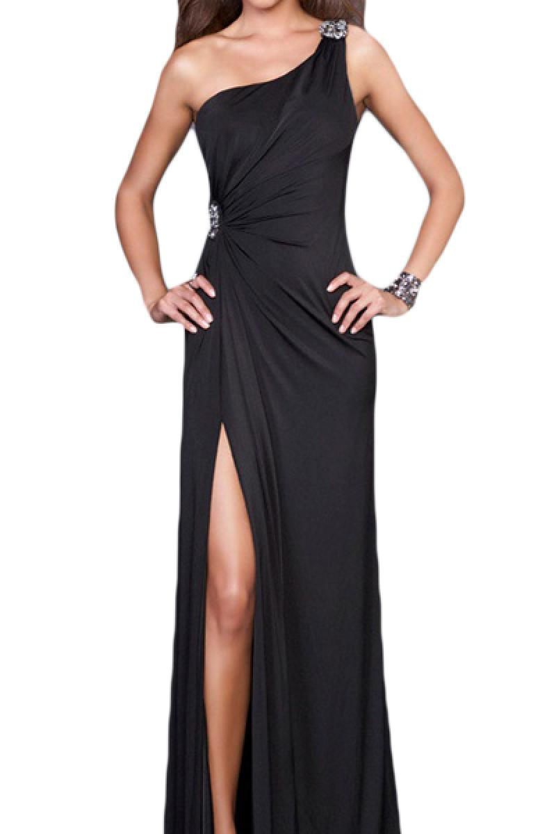 New Elegant Single Shoulder Backless  Slits Dress,Cheap in Wendybox.com