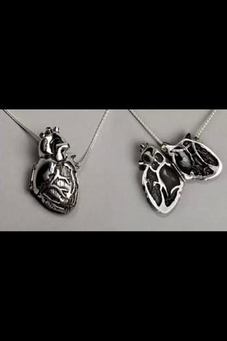 jewels heart necklace anatomical heart locket