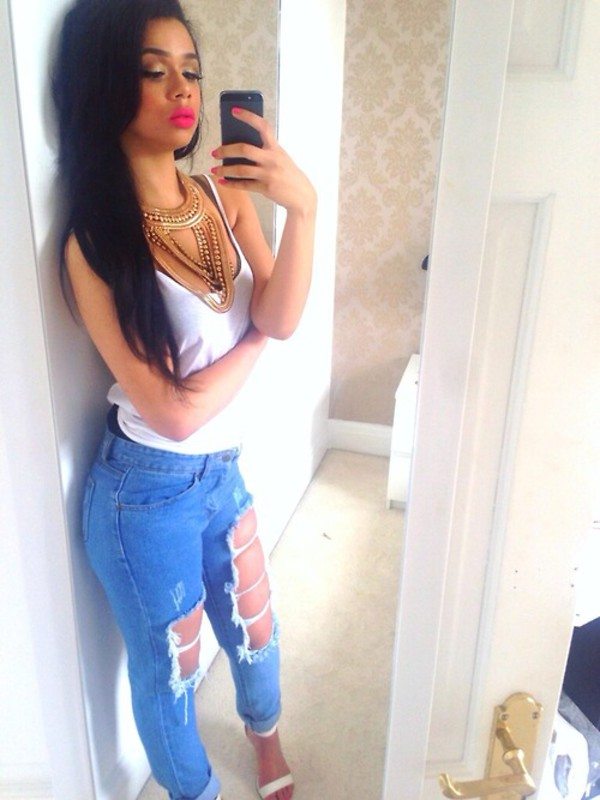 jeans denim ripped jeans ripped skinny jeans statement necklace necklace jewelry jewels