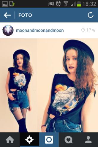 t-shirt crop tops black shirt crop tops black crop top black t-shirt birds birds top birds shirt bird owl