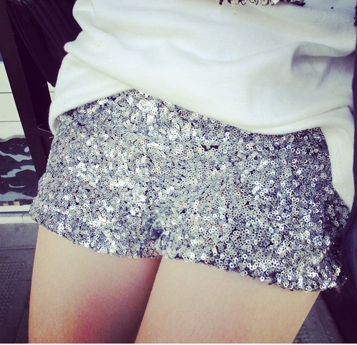 Color Silver Sexy Shorts Elastic Sequins Zipper Fly Solid Ladies Nightclub Bar Shorts Women's Shorts Free Shipping WKD126-in Shorts from Apparel & Accessories on Aliexpress.com