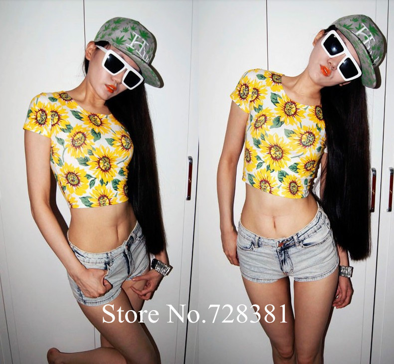 Women Sexy Close Fitting Crop top Cotton Graphic Short Slim Short sleeve Fashion Sunflower Print Flower T shirt 2014 Womans New-inT-Shirts from Apparel & Accessories on Aliexpress.com
