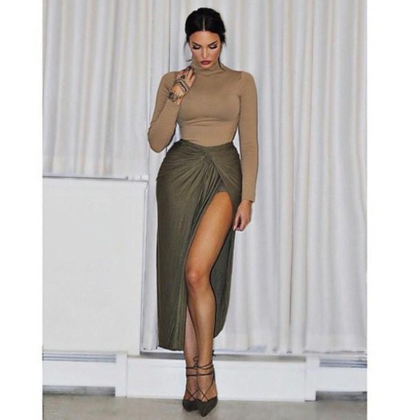 fall sweater sexy high waisted skirt draped camel olive green slit skirt skirt shirt dress green skirt midi skirt