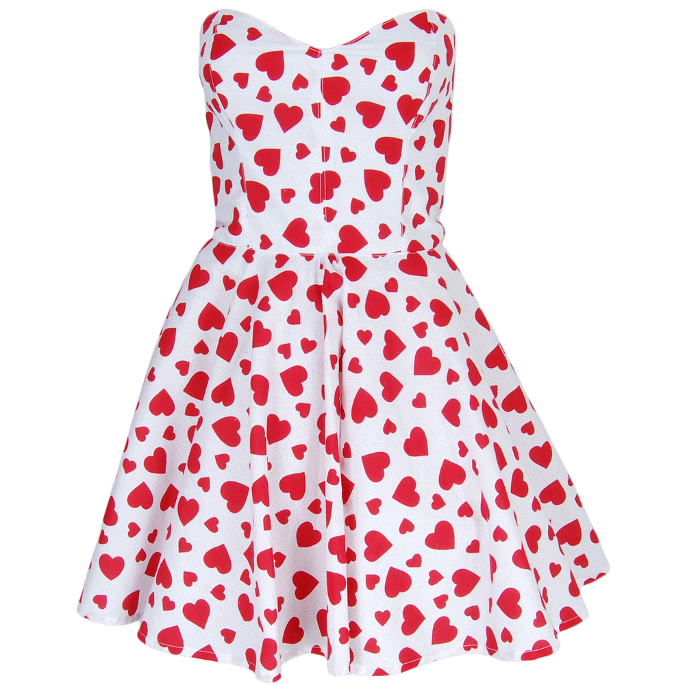 Red Heart Print Prom Dress   Style Icon`s Closet