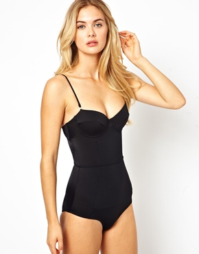 River Island | River Island Bustier Swimsuit With Tummy Control at ASOS