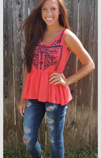 shirt coral tribal pattern tank top floral pink jeans summer racerback aztec black pretty gorgeous long hair capris holey jeans swimwear smiles flowers grass