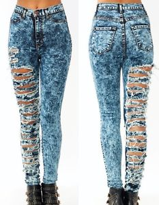 New High Waisted Acid Mineral Wash Distressed Ripped Skinny Denim Jean Pants | eBay