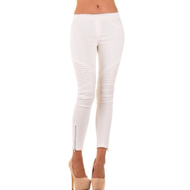leggings white biker style leather jeggings sexy