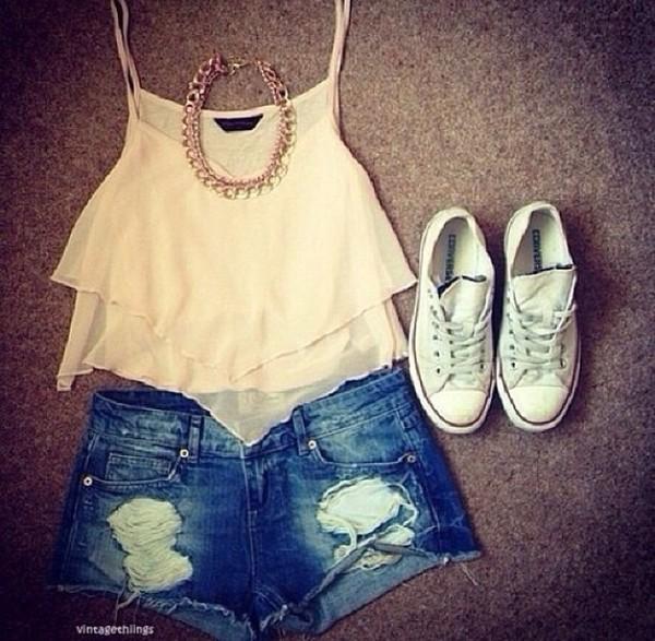shorts converse big necklace tank top shoes blouse